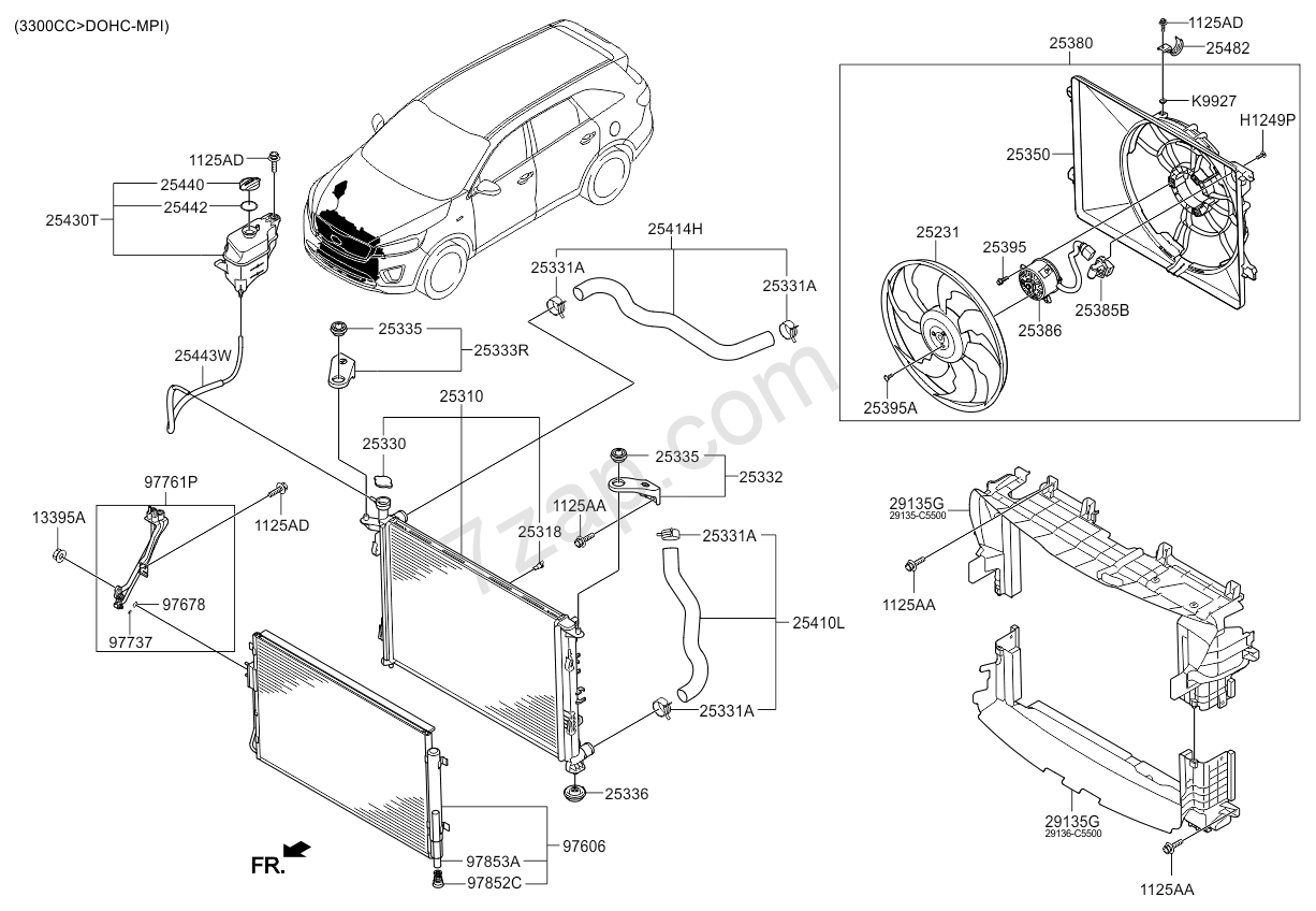 2005 kia sedona radiator hose diagram